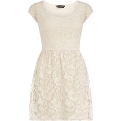 Cream shortsleeve lace dress ($44) ❤ liked on Polyvore