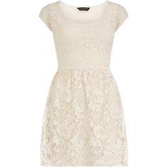 Cream shortsleeve lace dress ($44) ❤ liked on Polyvore