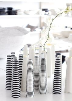 Clusters, black and white stripes, Tall thin cylindrical bud vases - lisbet e.
