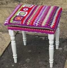 footstool renovation project - completed http://adaliza.com/2013/04/14/painted-furniture-and-crochet/