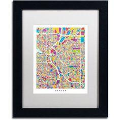 Trademark Fine Art Denver Colorado Street Map 2 inch Canvas Art by Michael Tompsett, White Matte, Black Frame, Size: 16 x 20, Red