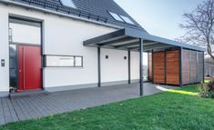 Carport Modern, Parking Solutions, Carports, Main Entrance, Back Doors, House Plans, Garage Doors, Backyard, Exterior