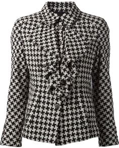 Chanel Vintage ruffled front houndstooth jacket
