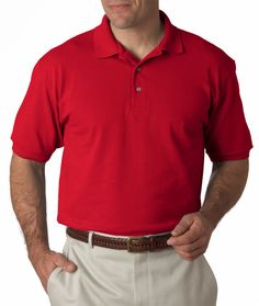 hanes adult comfortsoft(R) pique polo - deep red (l)