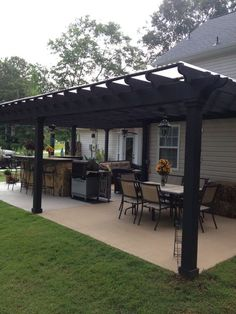 Backyard porch ideas on a budget patio makeover outdoor spaces best of i like this open layout like the pergola over the table grill Hinterhof Veranda Backyard Patio Designs, Pergola Designs, Pergola Patio, Pergola Ideas, Cozy Backyard, Diy Patio, Backyard Landscaping, Backyard Porch Ideas, Backyard Gazebo