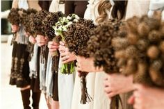 Would mean so much to my grandfather- pine cone bouquets for bridesmaids
