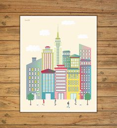 laminas laminas decorativas Manhattan Nueva por Ilustracionymas