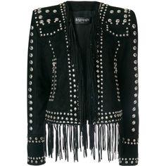 Balmain stud embellished blazer (213.855 ARS) ❤ liked on Polyvore featuring outerwear, jackets, blazers, black, tassel jacket, studded jackets, long sleeve jacket, long sleeve crop jacket and cropped blazer
