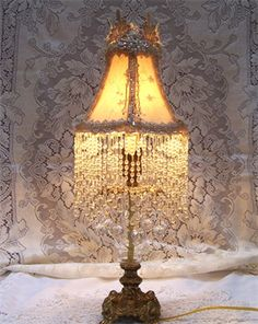 lamp shade crystal fringe by yards   Vintage Brass & Glass Accent Lamp & Shade