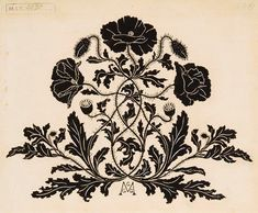 Gizella Greguss, Poppy design for a book decoration, 1898. Ink on paper. Budapest. Museum of Applied Arts Budapest