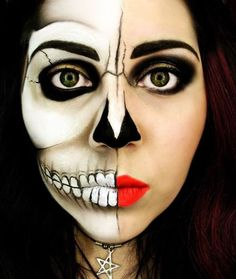 Half woman, half corpse Halloween makeup. This is a good theme when you want to show two sides of the story. The details are creatively drawn and the drama between the faces can clearly be shown.