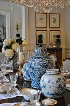 blue and white in the dining room