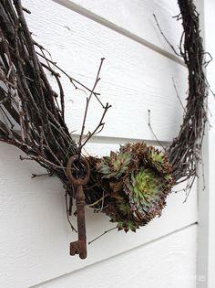 Spring wreath 1 Linabythebay Grapevine Wreath, Grape Vines, Succulents, Wreaths, Spring, Creative, Christmas, Crafts, Diy