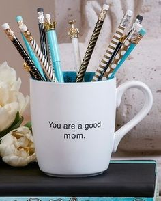 "What mom wouldn't love this ceramic mug with her morning coffee or breakfast in bed? ""You are a good mom"" mug is the perfect Mother's Day gift."
