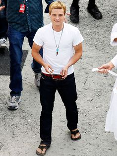 He's back to blond as Peeta! Josh Hutcherson is in Atlanta filming Catching Fire...We can't wait for this movie! http://www.people.com/people/gallery/0,,20629954,00.html#21213575