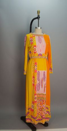 1960s Paganne maxi dress 60s graphic print dress by melsvanity, $168.00