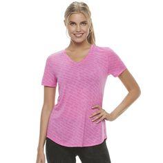 Women's Tek Gear® Easy Burnout V-Neck Yoga Tee, Size: