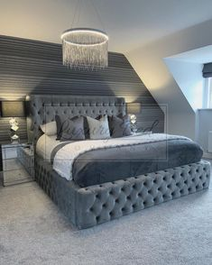 The bed of DREAMS 🤯 (I also love the lighting too🤩) . bedroom bed room house home instahome design interior interiordesign love like housetohome foreverhome decor decorate grey greyhouse greyhome mrshinch hincharmy Luxury Bedroom Design, Bedroom Bed Design, Girl Bedroom Designs, Room Ideas Bedroom, Home Decor Bedroom, Bedroom Furniture, Bedroom Inspo, Bedroom Inspiration, New Bed Designs