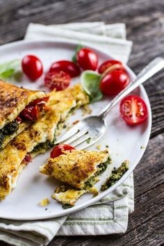 1 tablespoon ghee or olive oil handful of grape or cherry tomatoes, halved 4 eggs tablespoons pistachio pesto, or other salt + pepper Savory Breakfast, Breakfast Time, Omelettes, Brunch Recipes, Breakfast Recipes, Breakfast Ideas, Tortillas, Cooking Recipes, Healthy Recipes