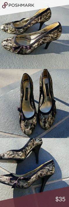 NWOB  Beverly Feldman lace heels 8 Brand new and ready to go out dancing.3.5 in heel. Beverly Feldman Shoes Heels