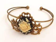 Noble bracelet in vintage style with roses cameo and beautiful ornaments