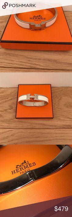 "hermes clic H enamel bracelet silver white hermes narrow enamel bracelet with palladium plated hardware.  size : GM  8"" circumference 0.5"" wide    color: blanc Hermes Jewelry Bracelets"
