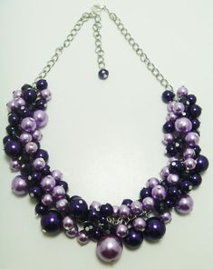 Purple and lilac pearl cluster necklace with crystals from Eienblue on ETSY