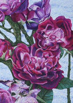 Roz Edwards. See the details on the blog post on Rozartz Contemporary floral paintings: Paintings of roses.
