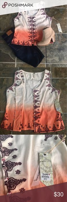Cream ombré vintage Buckle vest Vest from the Gimmicks collection by Buckle. Embroidered maroon designs with floral vintage buttons. Cream-collared lace on back of the neck. Pairs nice with dark jeans or shorts. NWT, never worn! Buckle Jackets & Coats Vests