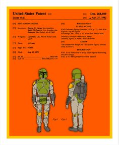 Boba Fett action figure actual US Patent -- Pop art print by Jazzberryblue. Boba Fett Action Figure, Episode Iv, Star Wars Boba Fett, Star Wars Action Figures, Love Stars, Bounty Hunter, Mandalorian, Star Wars Art, Geek Stuff