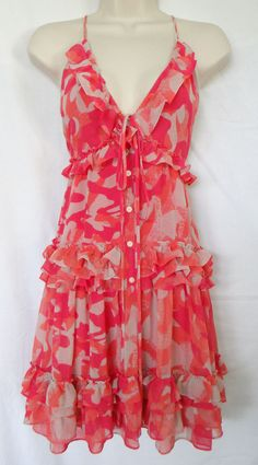 NWOT Moda International Victoria Secret Coral Ruffle Backless Summer Dress Small #ModaInternational #Sundress #Casual