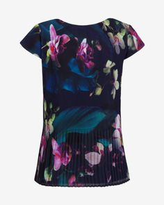 Fuchsia Floral pleated top - Dark Blue | Tops & Tees | Ted Baker