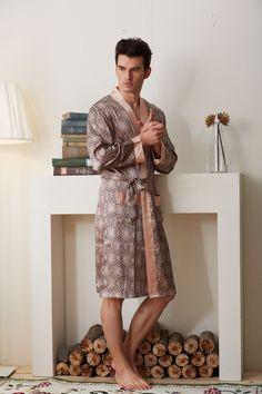 6ce4c5776b 2016 New Real Men Bathrobe Geometric Robes V-neck Imitation Silk Knitted  Sleepwear Full Sleeve