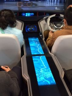 Large format multi-touch technology demonstrated by Mitsubishi in their Grand Cruiser SV concept car at 2013 Tokyo Motor Show.