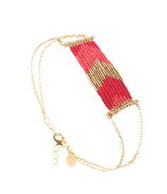 Bracelet Folk coquelicot framboise, Caroline Najman, Caratime
