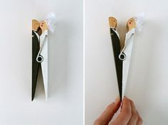 Haha I want to make these!  Easy D.I.Y. bride and groom peg (great party favour gift idea).