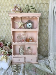 Shabby Vintage Pink Hanging Curio Cabinet With Drawers, Vintage Hanging Curio…