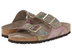 Birkenstock Arizona Soft Footbed - Suede (Unisex) Flower Crush Taupe Suede - Zappos.com Free Shipping BOTH Ways