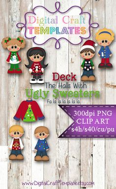 Clipart: Ugly Sweater Christmas Kristi W. by DigitalCraftTemplate