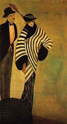 Figurinos da Alfaiataria Cunha  1913, óleo sobre tela 178 x 100 cm  José de Almada Negreiros (1873 - 1970 ) Art And Illustration, Henri De Toulouse Lautrec, Gustav Klimt, Lion Love, Couple Art, Cubism, Acrylic Art, Preston, Figurative Art