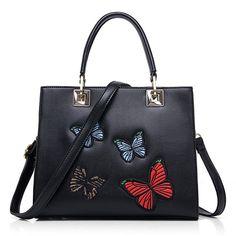 Leather Handbag Butterfly Purse Shoulder Bag