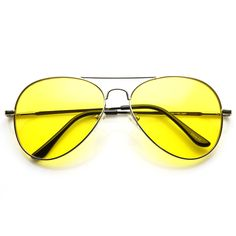 Retro Large Metal Aviator Sunglasses With Yellow Driving Lens 9461