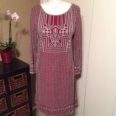 M.S.S.P. Long Sleeved Dress Cotton deep red and grey long sleeve dress. Hits just below the knee. Great for work and cute with tall boots 👢 Really unique design and pattern. Max Studio Dresses Long Sleeve