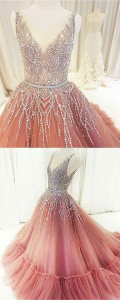Beaded Rhinestones V Neck Aline Gorgeous Prom Dresses Fashion Formal Elegant Prom dress Gorgeous Prom Dresses, Elegant Prom Dresses, Beautiful Gowns, Pretty Dresses, Evening Dresses, Formal Dresses, Long Dresses, Sleeveless Dresses, Dresses Dresses