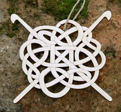 Celtic Wood Ornament with Crochet Hooks by iTagStudios on Etsy, $10.00... I really love this as an idea for a tattoo... since I love to Crochet!!!