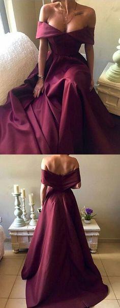 Dark Red Satin Prom Dress,Sexy prom Dress,Long A-line