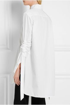 White cotton-poplin Concealed button fastenings through front 100% cotton Dry clean