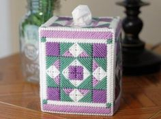 Plastic Canvas Quilted Tissue Box Cover   Craftsy