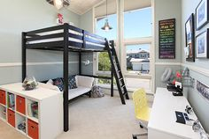 """Modern loft beds are hard to find in a world filled with amazing furniture options.This is the reason we arranged a list of Modern loft bed Ideas"""" Bunk Beds Built In, Modern Bunk Beds, Kids Bunk Beds, Twin Beds, Cool Loft Beds, Loft Bed Frame, Mezzanine Design, Loft Design, Modern Design"""