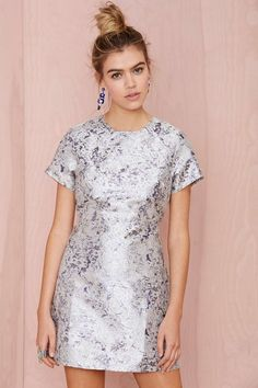 Motel Cheeky Metallic Jacquard Dress